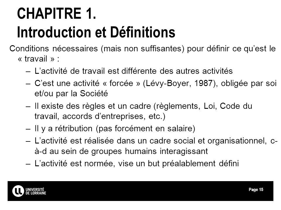 Page15 CHAPITRE 1. Introduction et Définitions Conditions nécessaires (mais non suffisantes) pour définir ce quest le « travail » : –Lactivité de trav