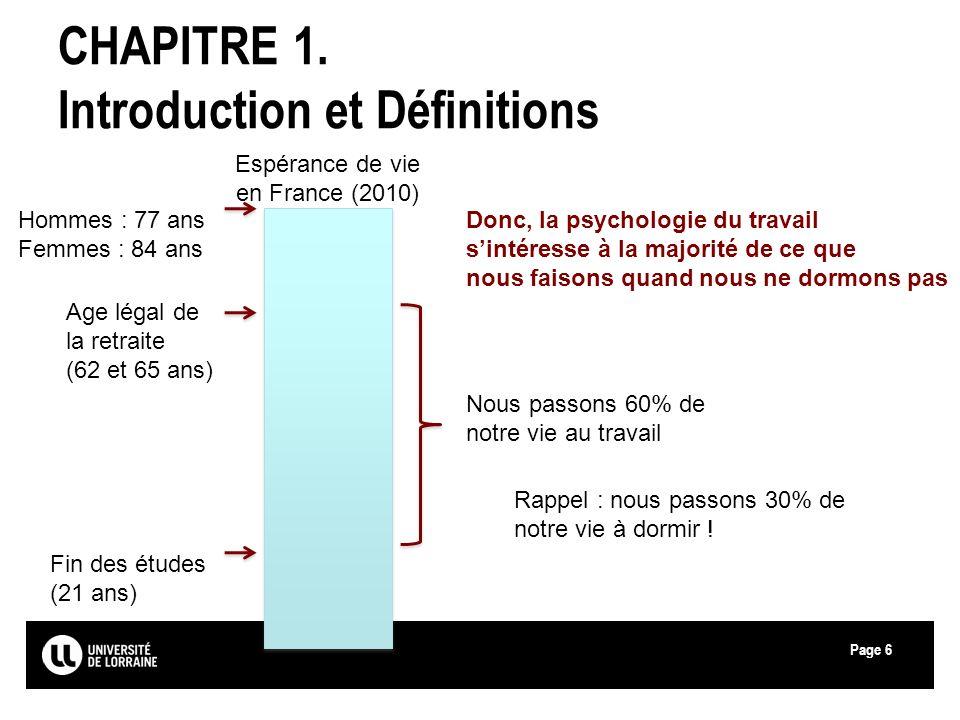 Page6 CHAPITRE 1. Introduction et Définitions Espérance de vie en France (2010) Hommes : 77 ans Femmes : 84 ans Age légal de la retraite (62 et 65 ans