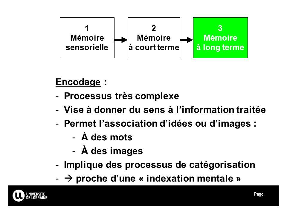 Page Université Paul Verlaine - Metz Encodage : -Processus très complexe -Vise à donner du sens à linformation traitée -Permet lassociation didées ou