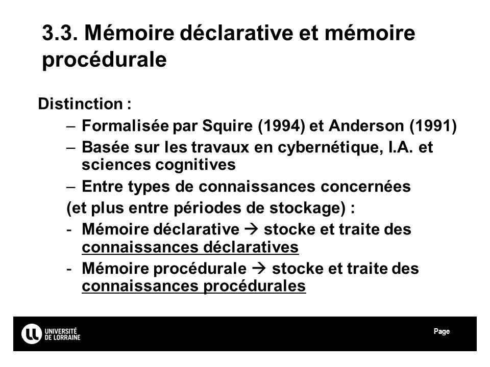 Page Université Paul Verlaine - Metz 3.3. Mémoire déclarative et mémoire procédurale Distinction : –Formalisée par Squire (1994) et Anderson (1991) –B