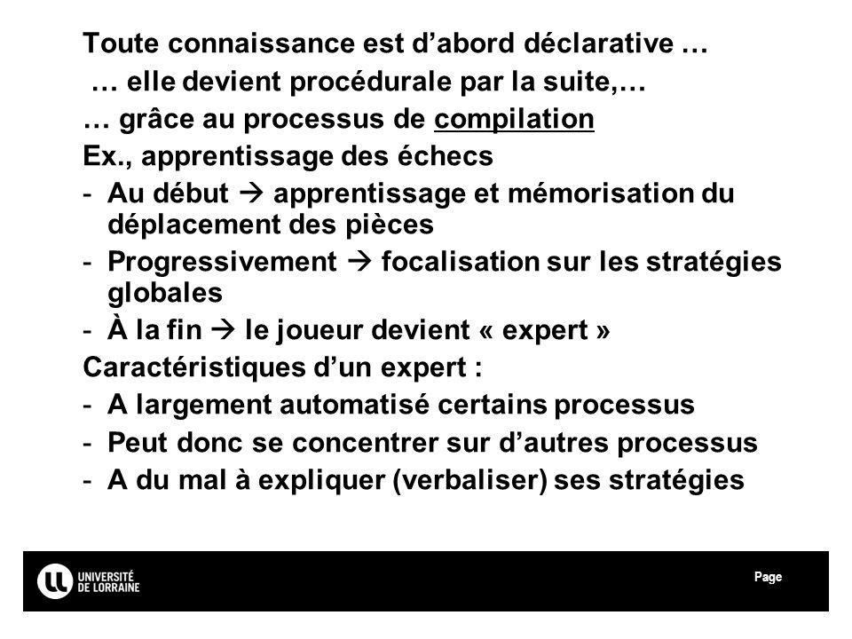 Page Université Paul Verlaine - Metz Toute connaissance est dabord déclarative … … elle devient procédurale par la suite,… … grâce au processus de com