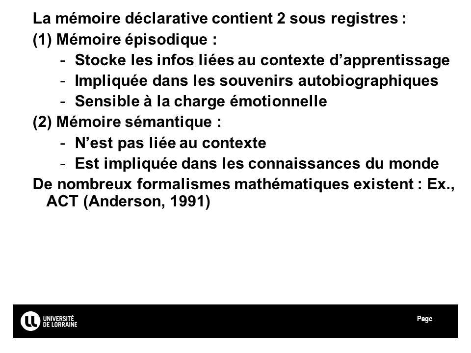 Page Université Paul Verlaine - Metz La mémoire déclarative contient 2 sous registres : (1) Mémoire épisodique : -Stocke les infos liées au contexte d