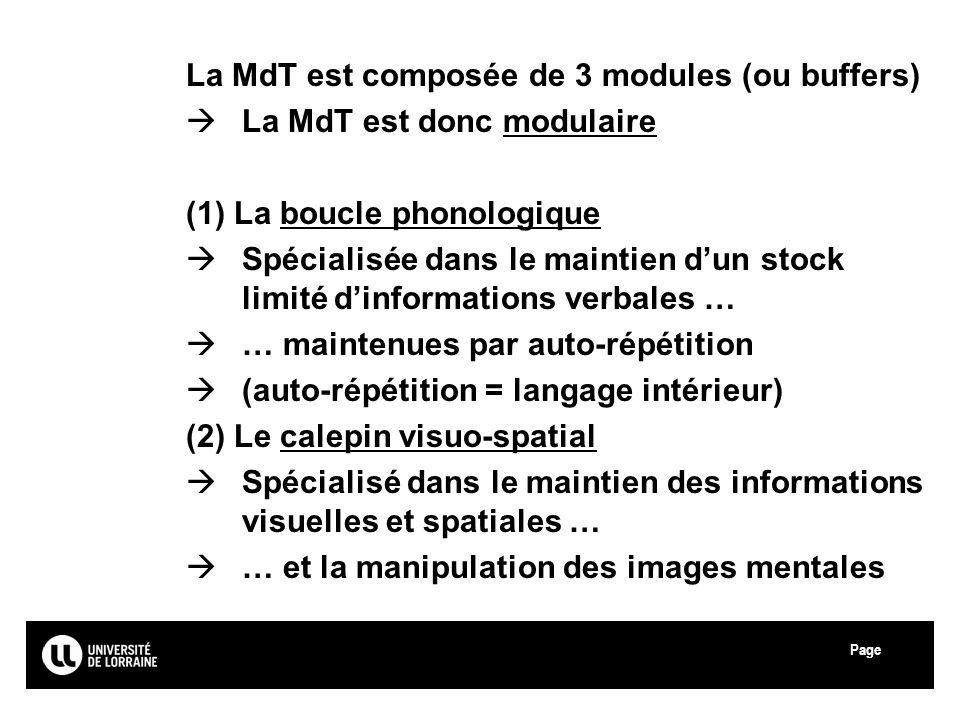 Page Université Paul Verlaine - Metz La MdT est composée de 3 modules (ou buffers) La MdT est donc modulaire (1) La boucle phonologique Spécialisée da
