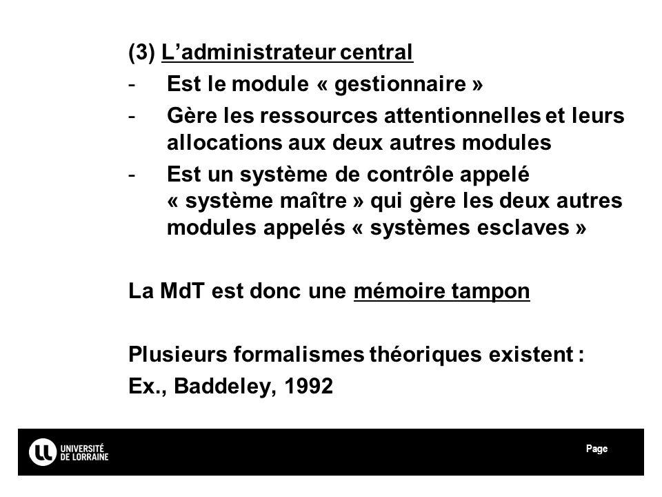 Page Université Paul Verlaine - Metz (3) Ladministrateur central -Est le module « gestionnaire » -Gère les ressources attentionnelles et leurs allocat