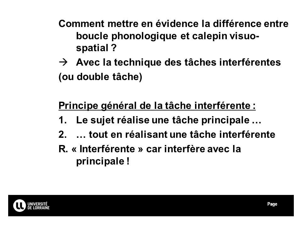 Page Université Paul Verlaine - Metz Comment mettre en évidence la différence entre boucle phonologique et calepin visuo- spatial ? Avec la technique