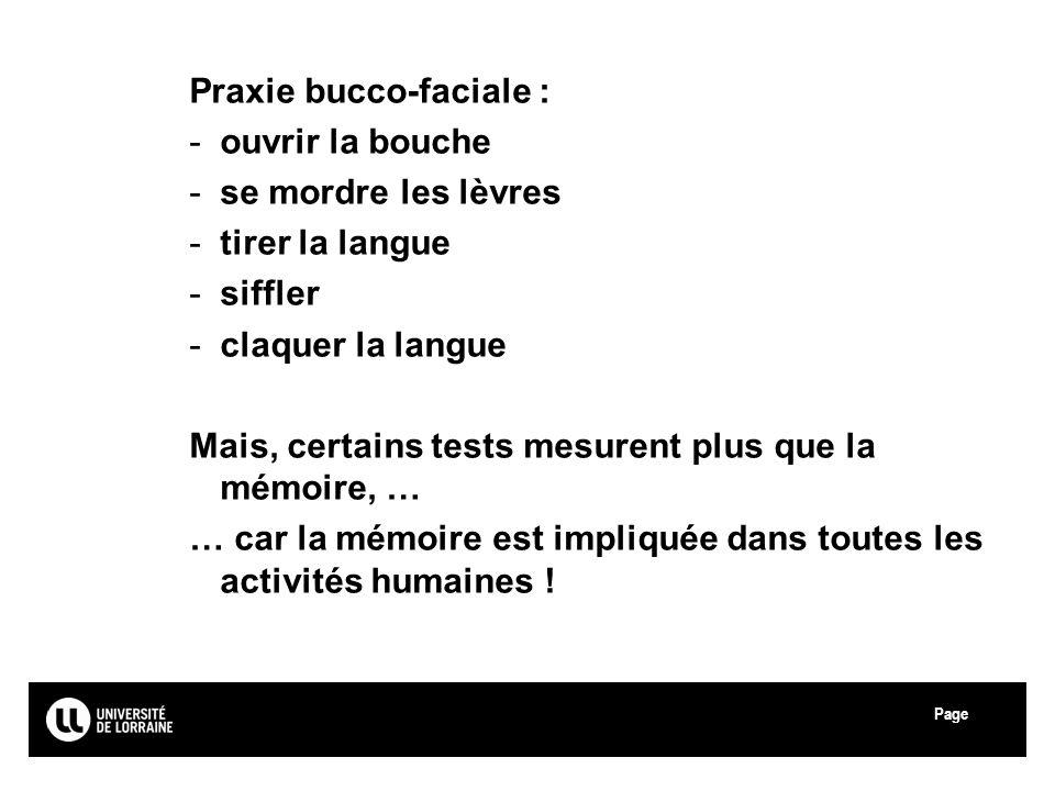 Page Université Paul Verlaine - Metz Praxie bucco-faciale : -ouvrir la bouche -se mordre les lèvres -tirer la langue -siffler -claquer la langue Mais,
