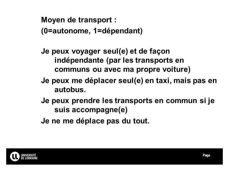 Page Université Paul Verlaine - Metz Moyen de transport : (0=autonome, 1=dépendant) Je peux voyager seul(e) et de façon indépendante (par les transpor