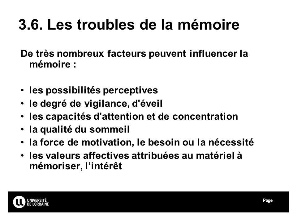 Page Université Paul Verlaine - Metz 3.6. Les troubles de la mémoire De très nombreux facteurs peuvent influencer la mémoire : les possibilités percep