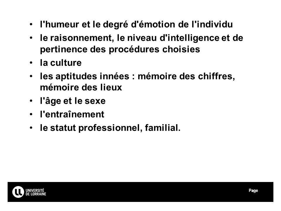 Page Université Paul Verlaine - Metz l'humeur et le degré d'émotion de l'individu le raisonnement, le niveau d'intelligence et de pertinence des procé