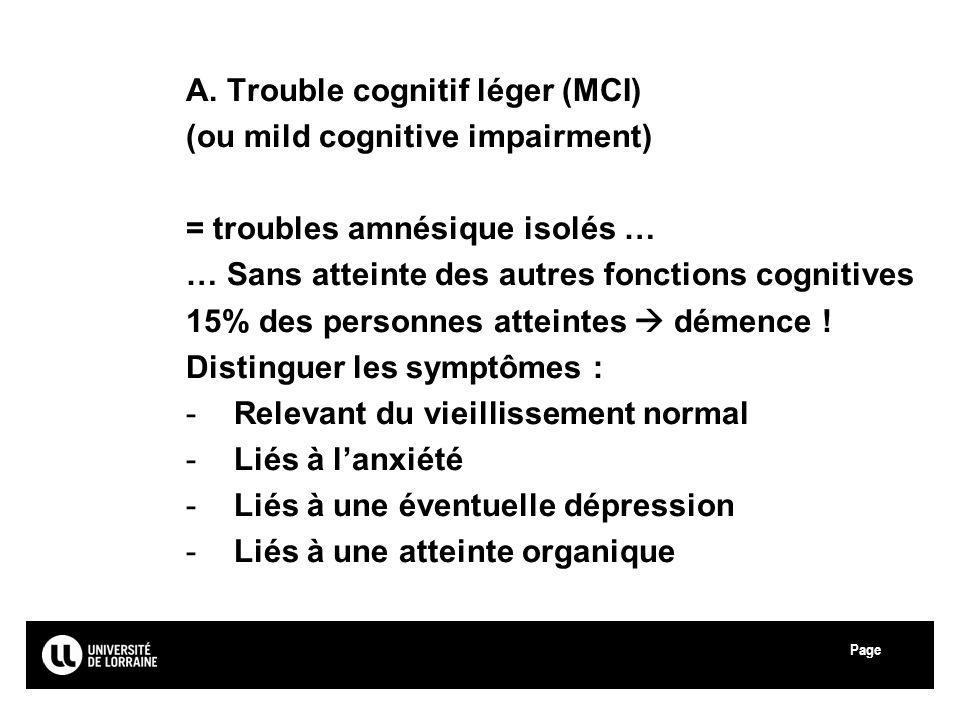 Page Université Paul Verlaine - Metz A. Trouble cognitif léger (MCI) (ou mild cognitive impairment) = troubles amnésique isolés … … Sans atteinte des