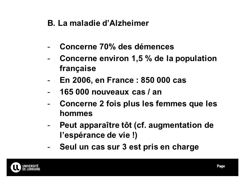 Page Université Paul Verlaine - Metz B. La maladie dAlzheimer -Concerne 70% des démences -Concerne environ 1,5 % de la population française -En 2006,