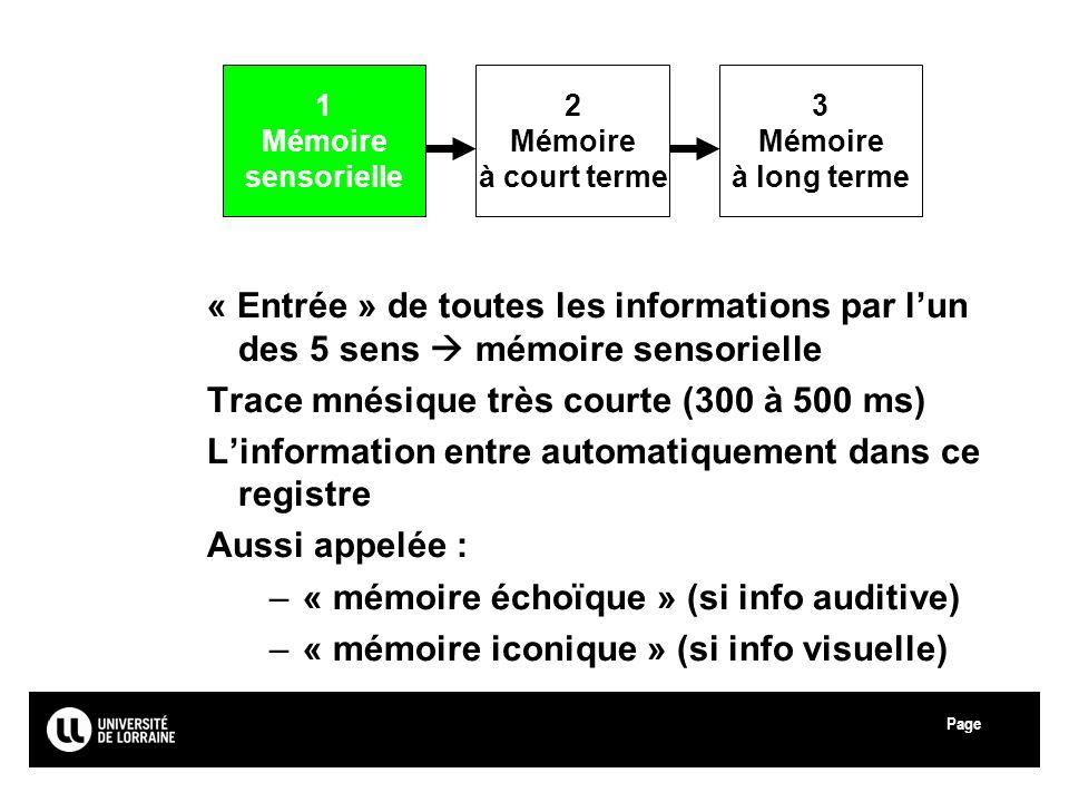 Page Université Paul Verlaine - Metz « Entrée » de toutes les informations par lun des 5 sens mémoire sensorielle Trace mnésique très courte (300 à 50