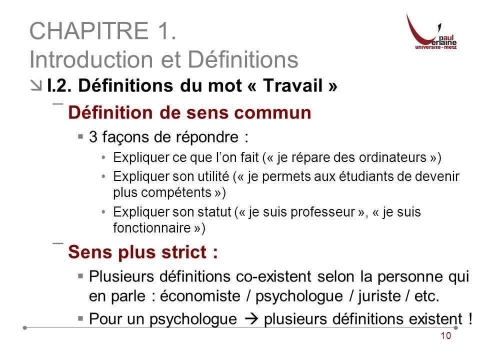 10 CHAPITRE 1. Introduction et Définitions I.2. Définitions du mot « Travail » ¯Définition de sens commun 3 façons de répondre : Expliquer ce que lon