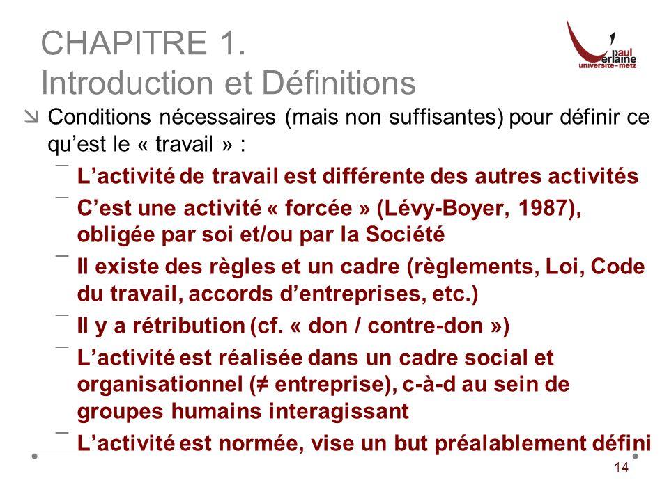 14 CHAPITRE 1. Introduction et Définitions Conditions nécessaires (mais non suffisantes) pour définir ce quest le « travail » : ¯Lactivité de travail