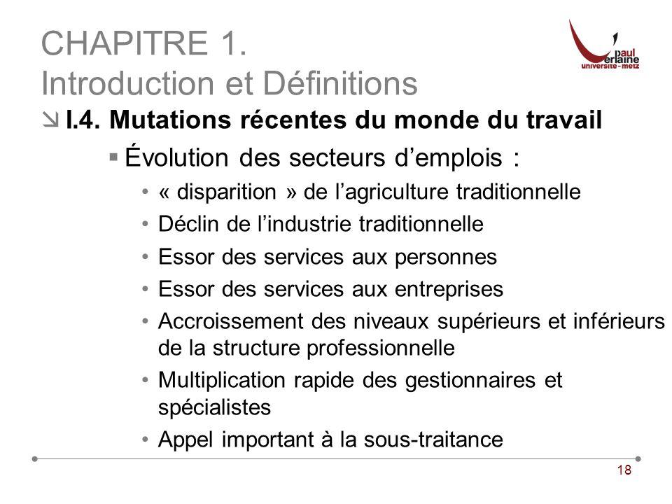 18 CHAPITRE 1. Introduction et Définitions I.4. Mutations récentes du monde du travail Évolution des secteurs demplois : « disparition » de lagricultu