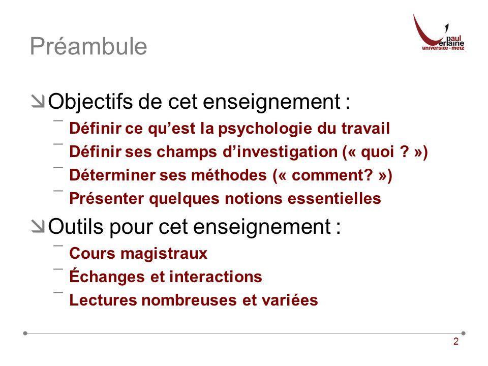 2 Préambule Objectifs de cet enseignement : ¯Définir ce quest la psychologie du travail ¯Définir ses champs dinvestigation (« quoi ? ») ¯Déterminer se