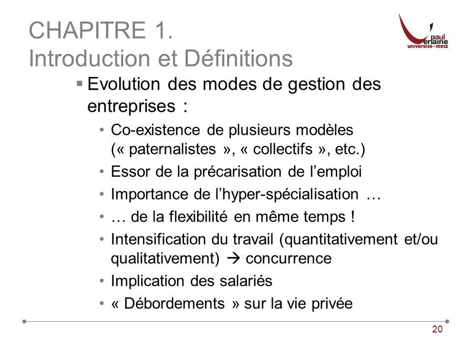 20 CHAPITRE 1. Introduction et Définitions Evolution des modes de gestion des entreprises : Co-existence de plusieurs modèles (« paternalistes », « co