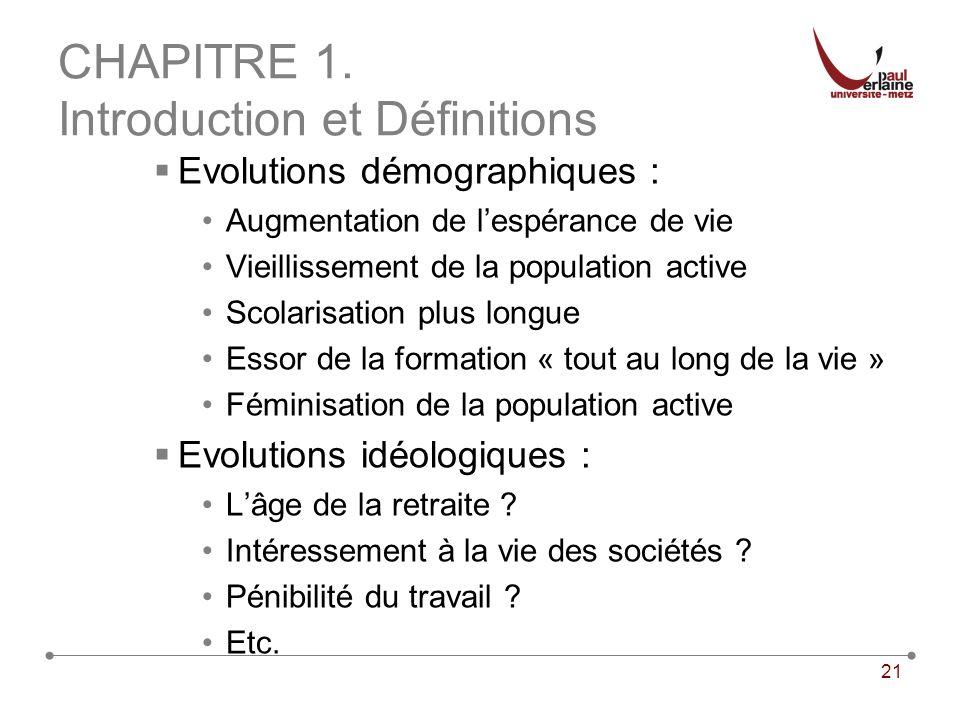21 CHAPITRE 1. Introduction et Définitions Evolutions démographiques : Augmentation de lespérance de vie Vieillissement de la population active Scolar