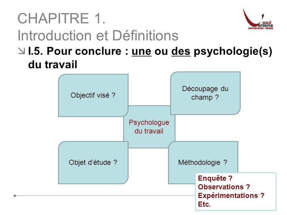 25 CHAPITRE 1. Introduction et Définitions I.5. Pour conclure : une ou des psychologie(s) du travail Psychologue du travail Découpage du champ ? Métho