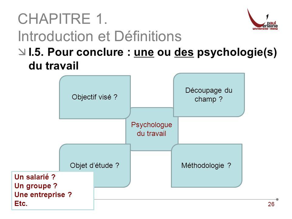26 CHAPITRE 1. Introduction et Définitions I.5. Pour conclure : une ou des psychologie(s) du travail Psychologue du travail Découpage du champ ? Métho