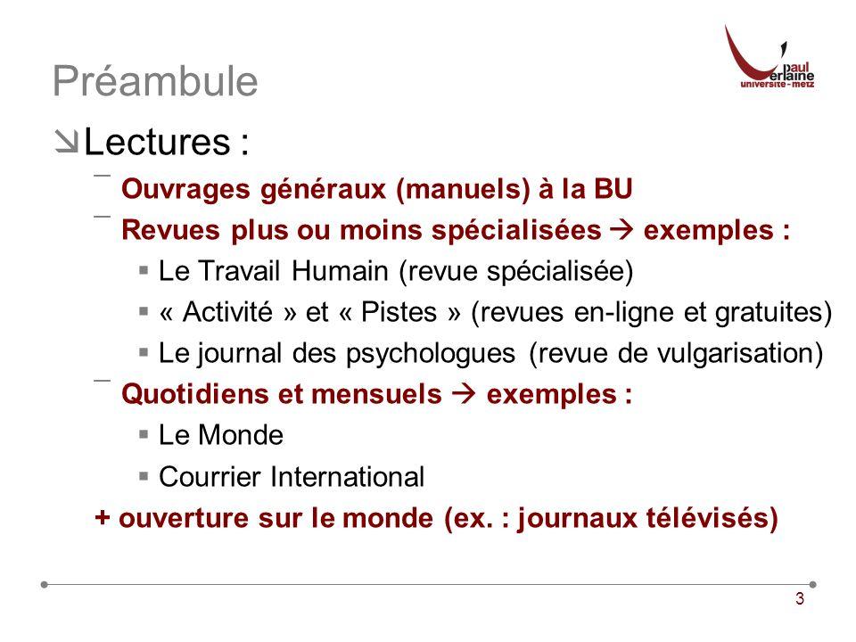 3 Préambule Lectures : ¯Ouvrages généraux (manuels) à la BU ¯Revues plus ou moins spécialisées exemples : Le Travail Humain (revue spécialisée) « Acti