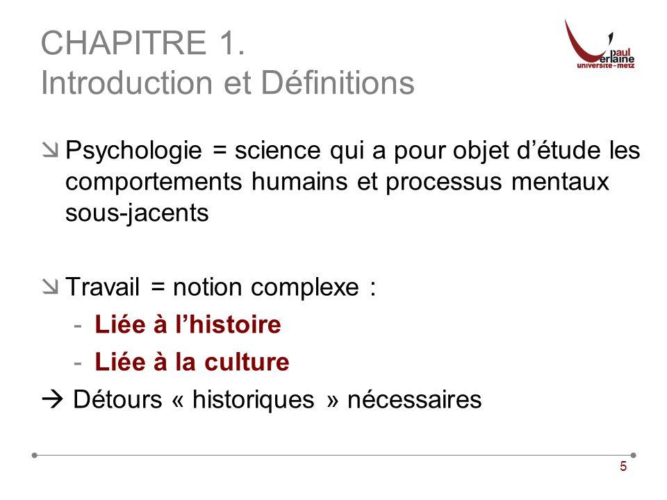 5 CHAPITRE 1. Introduction et Définitions Psychologie = science qui a pour objet détude les comportements humains et processus mentaux sous-jacents Tr