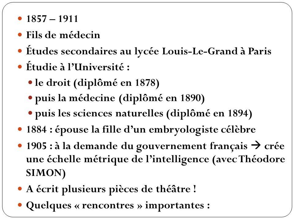 1857 – 1911 Fils de médecin Études secondaires au lycée Louis-Le-Grand à Paris Étudie à lUniversité : le droit (diplômé en 1878) puis la médecine (dip