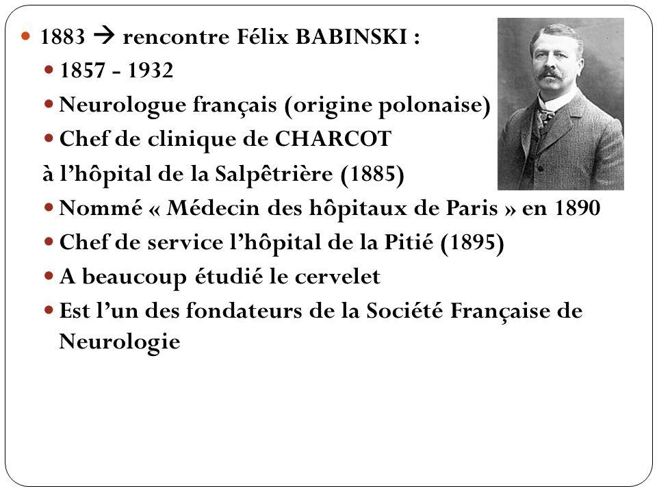 1883 rencontre Félix BABINSKI : 1857 - 1932 Neurologue français (origine polonaise) Chef de clinique de CHARCOT à lhôpital de la Salpêtrière (1885) No