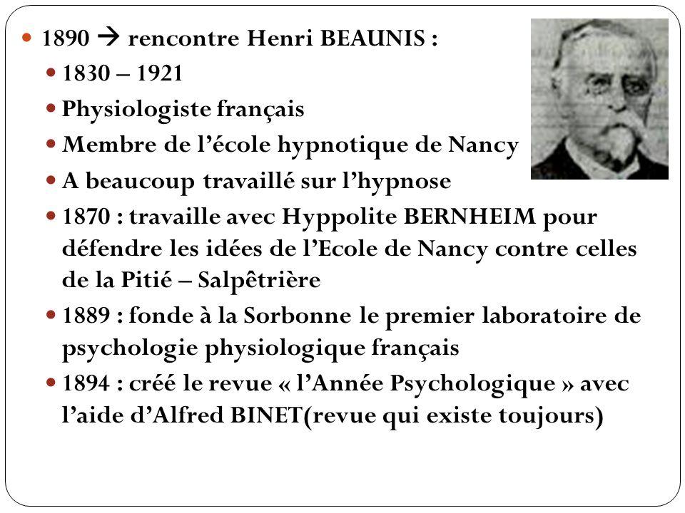 1890 rencontre Henri BEAUNIS : 1830 – 1921 Physiologiste français Membre de lécole hypnotique de Nancy A beaucoup travaillé sur lhypnose 1870 : travai