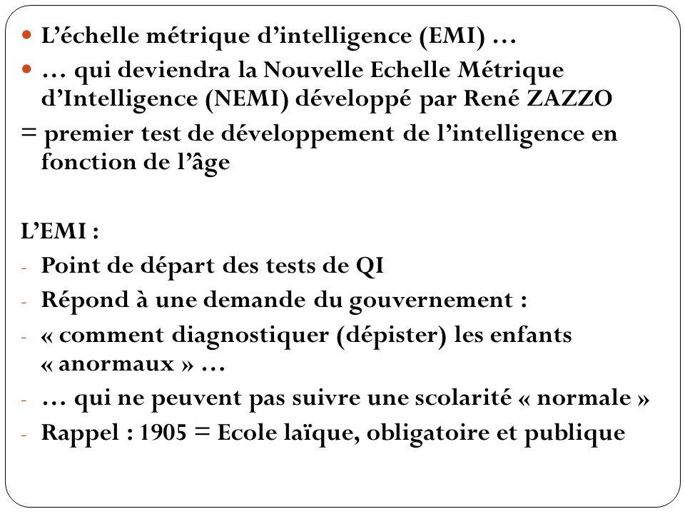 LEMI : - Ne fait pas appel aux connaissances, mais au développement mental - Est composée de petites questions simples … - … qui permettent de définir lâge mental de lenfant - … et donc son niveau de développement par rapport à son âge réel - Rem.: la notion de QI ne sera développée quen 1912 (William STERN)