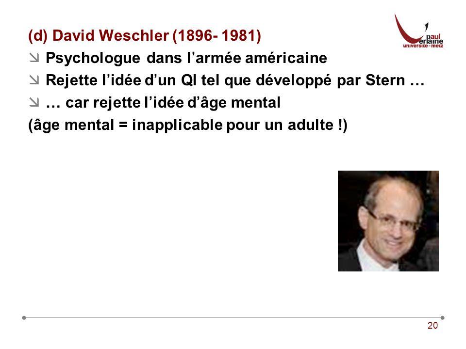 20 (d) David Weschler (1896- 1981) Psychologue dans larmée américaine Rejette lidée dun QI tel que développé par Stern … … car rejette lidée dâge mental (âge mental = inapplicable pour un adulte !)