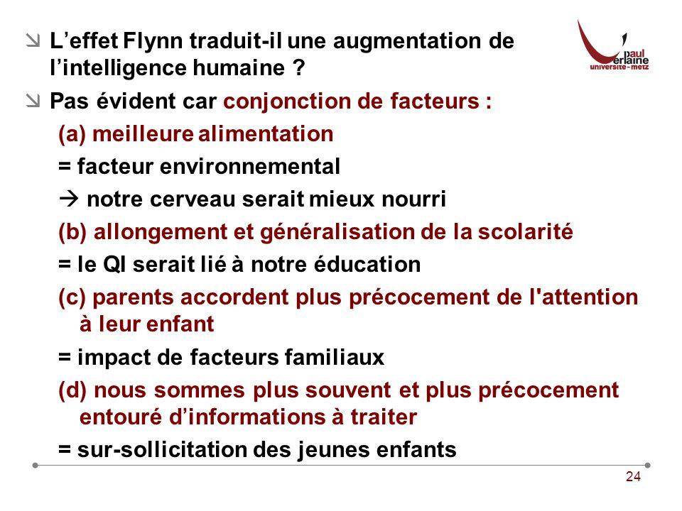 24 Leffet Flynn traduit-il une augmentation de lintelligence humaine .
