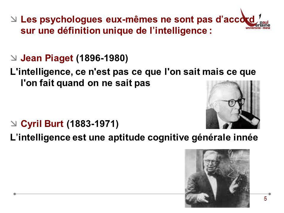 5 Les psychologues eux-mêmes ne sont pas daccord sur une définition unique de lintelligence : Jean Piaget (1896-1980) L intelligence, ce n est pas ce que l on sait mais ce que l on fait quand on ne sait pas Cyril Burt (1883-1971) Lintelligence est une aptitude cognitive générale innée