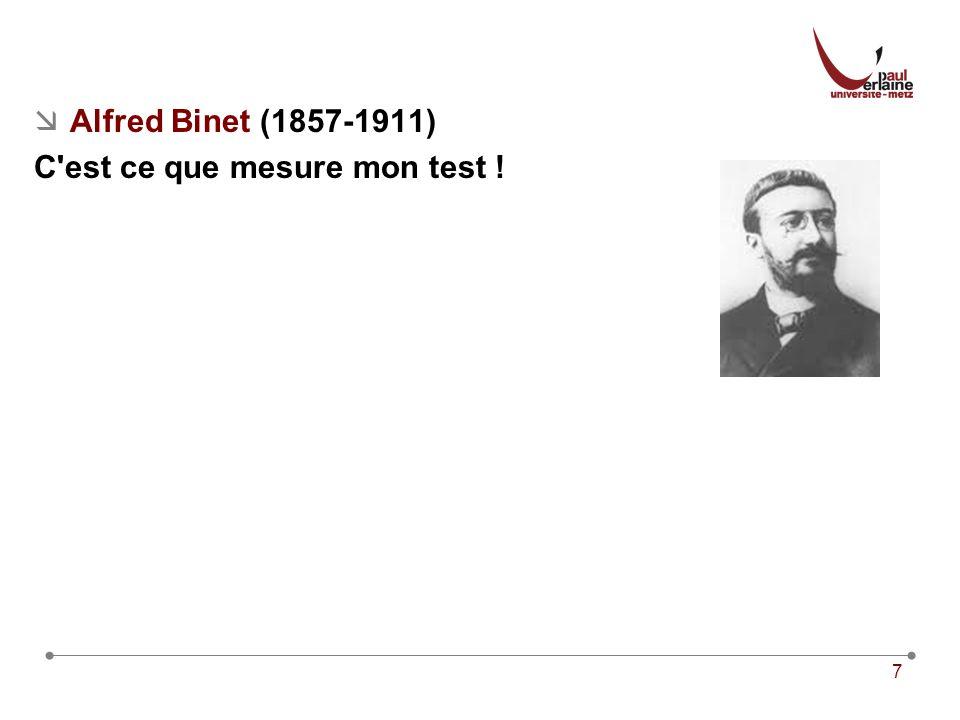7 Alfred Binet (1857-1911) C est ce que mesure mon test !