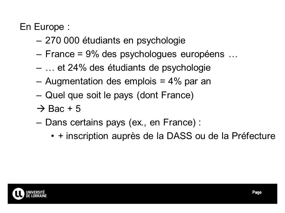 Page Université de Lorraine En Europe : –270 000 étudiants en psychologie –France = 9% des psychologues européens … –… et 24% des étudiants de psychologie –Augmentation des emplois = 4% par an –Quel que soit le pays (dont France) Bac + 5 –Dans certains pays (ex., en France) : + inscription auprès de la DASS ou de la Préfecture 14
