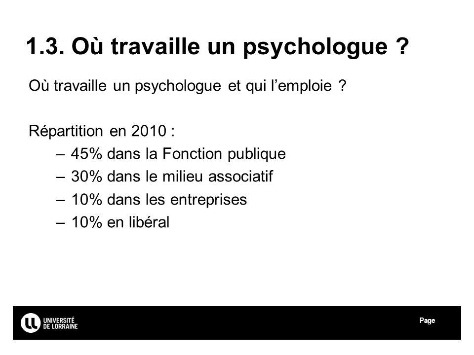 Page Université de Lorraine 1.3. Où travaille un psychologue ? Où travaille un psychologue et qui lemploie ? Répartition en 2010 : –45% dans la Foncti