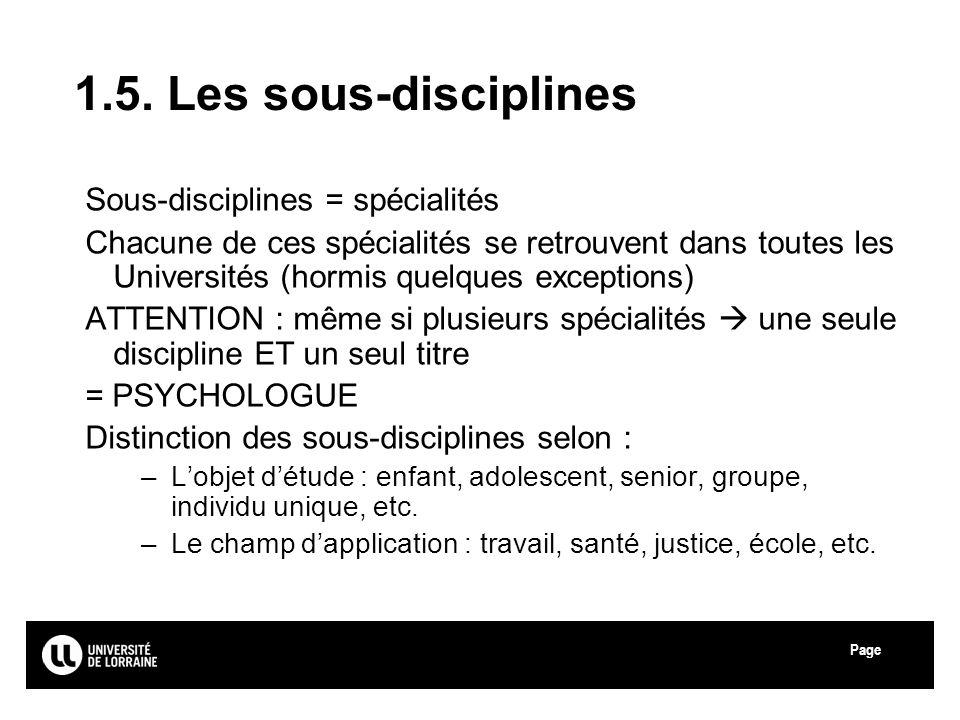 Page Université de Lorraine 1.5. Les sous-disciplines Sous-disciplines = spécialités Chacune de ces spécialités se retrouvent dans toutes les Universi