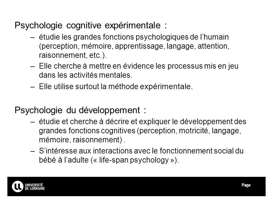 Page Université de Lorraine Psychologie cognitive expérimentale : –étudie les grandes fonctions psychologiques de lhumain (perception, mémoire, appren
