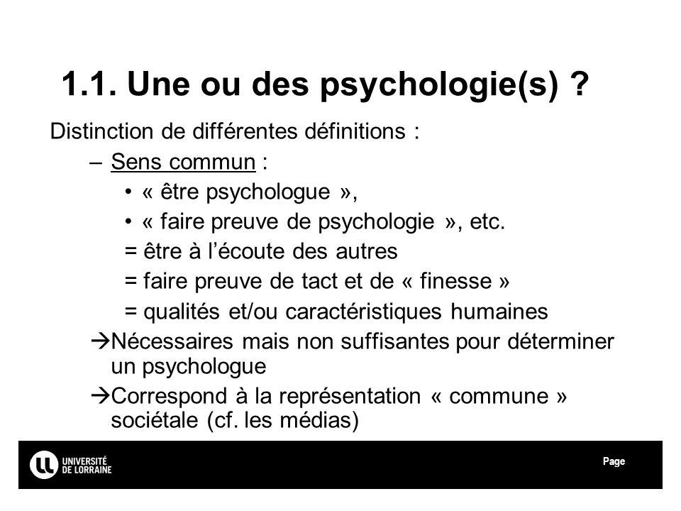 Page Université de Lorraine 1.1. Une ou des psychologie(s) ? Distinction de différentes définitions : –Sens commun : « être psychologue », « faire pre