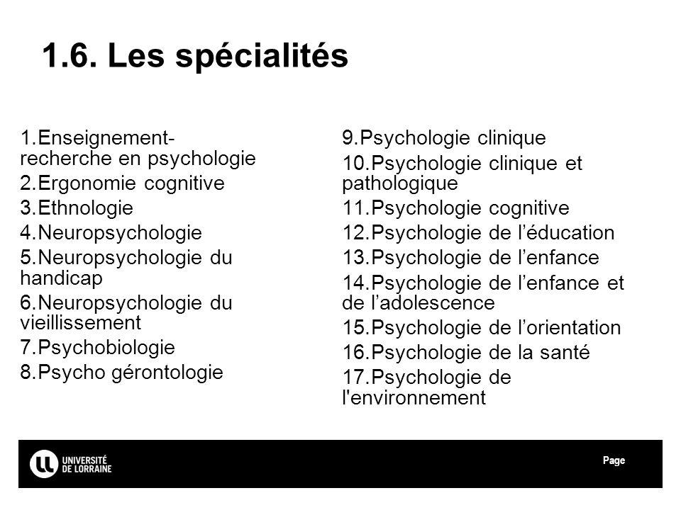 Page Université de Lorraine 1.6. Les spécialités 1.Enseignement- recherche en psychologie 2.Ergonomie cognitive 3.Ethnologie 4.Neuropsychologie 5.Neur