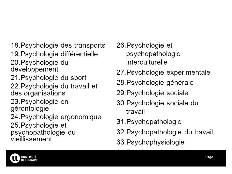 Page Université de Lorraine 18.Psychologie des transports 19.Psychologie différentielle 20.Psychologie du développement 21.Psychologie du sport 22.Psy