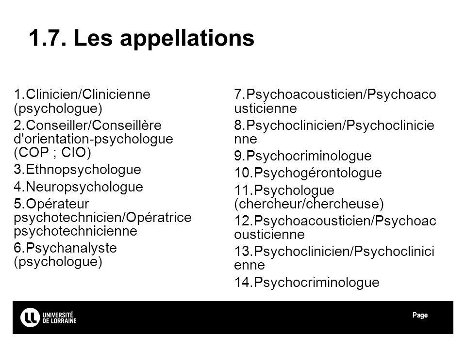 Page Université de Lorraine 1.7. Les appellations 1.Clinicien/Clinicienne (psychologue) 2.Conseiller/Conseillère d'orientation-psychologue (COP ; CIO)