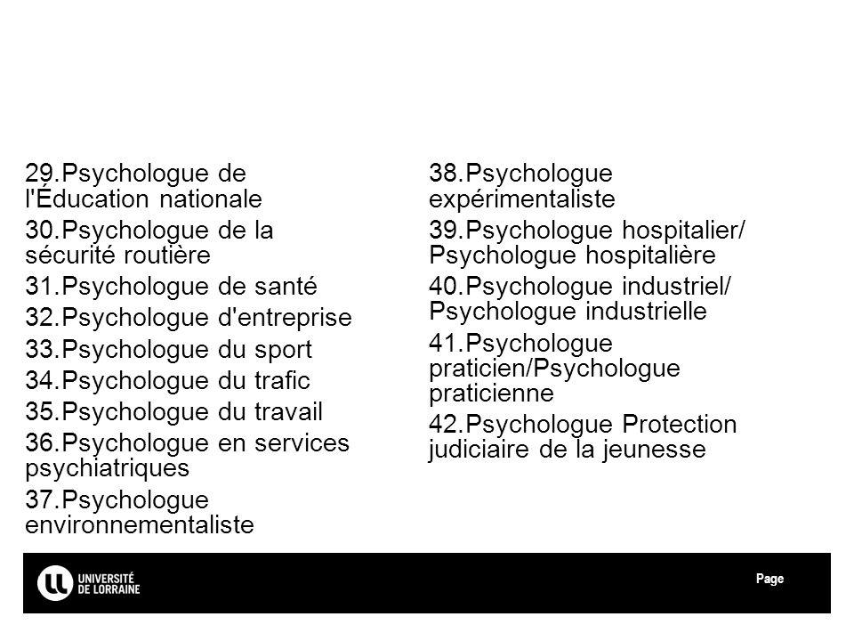 Page Université de Lorraine 29.Psychologue de l'Éducation nationale 30.Psychologue de la sécurité routière 31.Psychologue de santé 32.Psychologue d'en