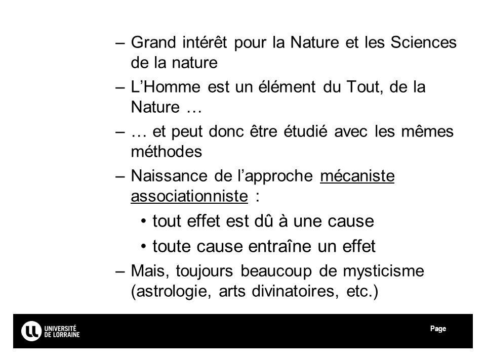 Page –Grand intérêt pour la Nature et les Sciences de la nature –LHomme est un élément du Tout, de la Nature … –… et peut donc être étudié avec les mê