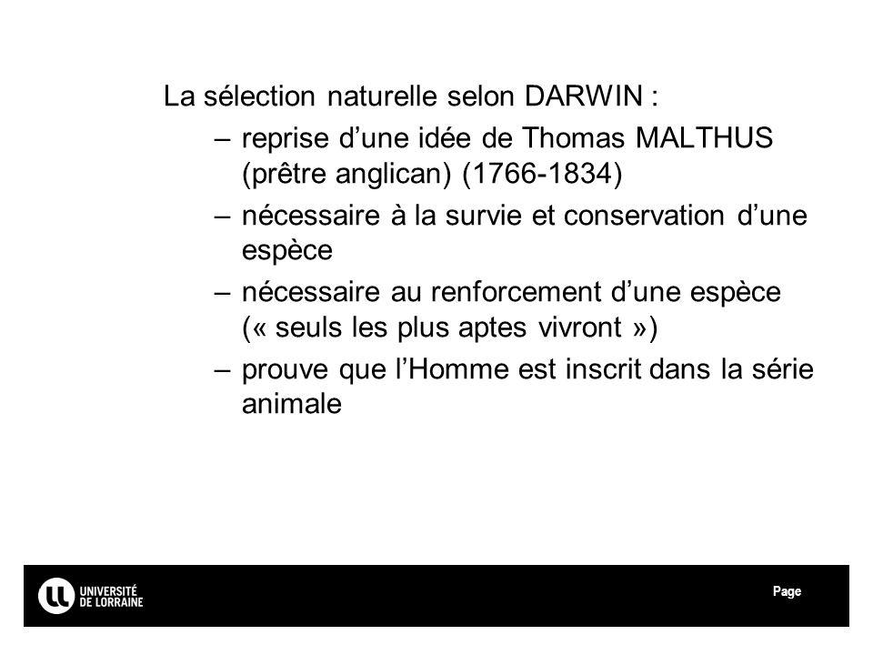 Page La sélection naturelle selon DARWIN : –reprise dune idée de Thomas MALTHUS (prêtre anglican) (1766-1834) –nécessaire à la survie et conservation
