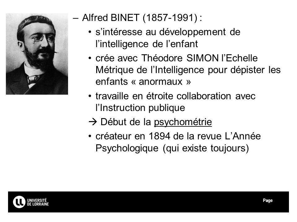 Page –Alfred BINET (1857-1991) : sintéresse au développement de lintelligence de lenfant crée avec Théodore SIMON lEchelle Métrique de lIntelligence p