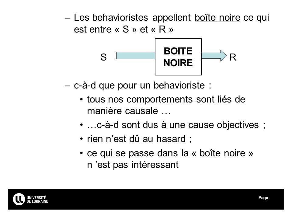 Page –Les behavioristes appellent boîte noire ce qui est entre « S » et « R » SRSR –c-à-d que pour un behavioriste : tous nos comportements sont liés