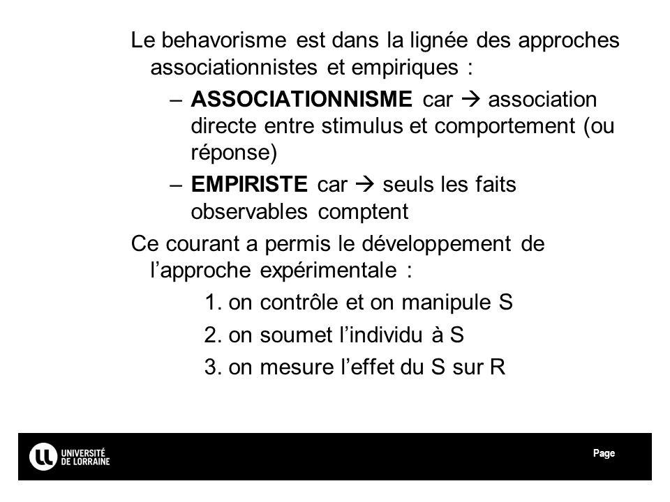 Page Le behavorisme est dans la lignée des approches associationnistes et empiriques : –ASSOCIATIONNISME car association directe entre stimulus et com