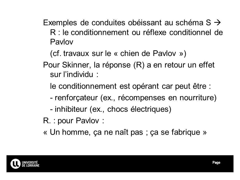 Page Exemples de conduites obéissant au schéma S R : le conditionnement ou réflexe conditionnel de Pavlov (cf. travaux sur le « chien de Pavlov ») Pou