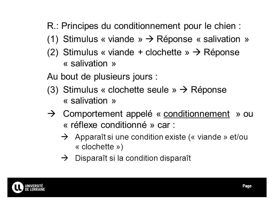Page R.: Principes du conditionnement pour le chien : (1)Stimulus « viande » Réponse « salivation » (2)Stimulus « viande + clochette » Réponse « saliv